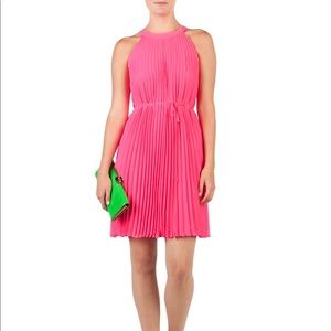 Ted Baker Jelty Pink Pleated High Neck Mini Dress